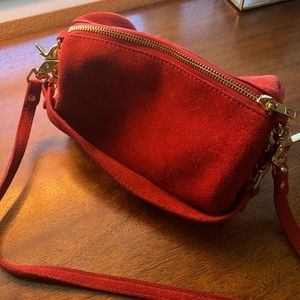 Anthropologie Red Suede Purse